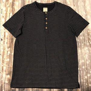 Merona dark blue & white striped crewneck shirt